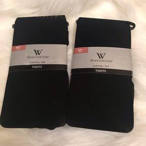 NWT pair of worthington control top black tights 2